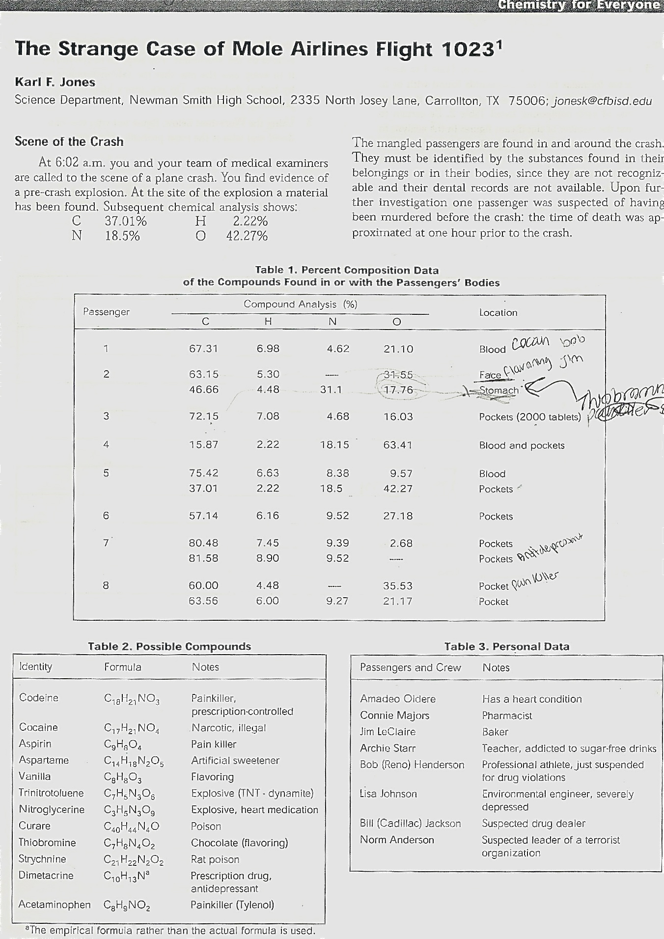 The Strange Case Of Mole Airlines Chemistry Worksheet Yeah Chemistry