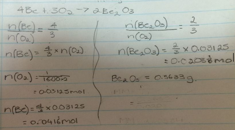 If The Formula For Beryllium Oxide Was Be2o3 What Would Be The