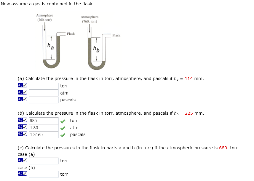 Calculate the pressure of gas using the mercury manometer